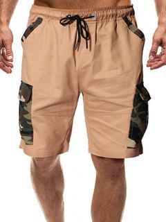 Camouflage Print Flap Pockets Drawstring Shorts - Khaki S
