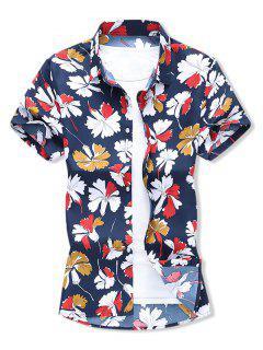 Leaf Allover Print Button Vacation Shirt - Cadetblue L