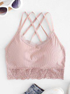 Lace Panel Padded Cross Strappy Bra - Pink