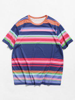 Colorful Striped Printed Short Sleeves T-shirt - Dark Slate Blue 2xl