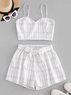 ZAFUL Plaid Belted Smocked Shorts Set - White S