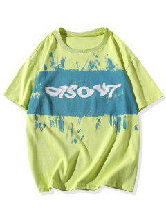 Painting Letter Print Basic T-shirt - Green Yellow 3xl