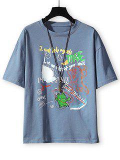 Cartoon Animal Letter Graphic Basic T-shirt - Denim Blue 3xl