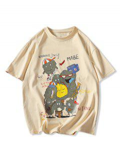 Playing Music Cartoon Print Basic T-shirt - Khaki 3xl