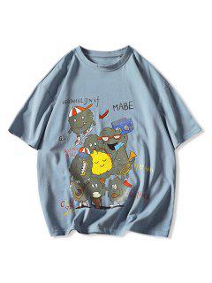 Playing Music Cartoon Print Basic T-shirt - Denim Blue 3xl