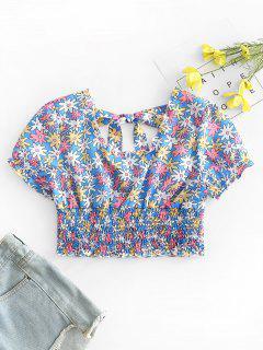 Floral Print Shirred Crop Top - Blue S