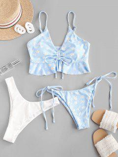 ZAFUL Floral Cinched Ribbed Three Piece Swimwear - Light Blue S