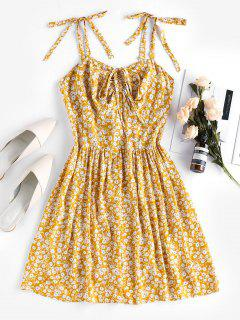 Vestido De Bata Con Estampado Floral Con Nudo En Espalda - Amarilla De Abeja  Xl