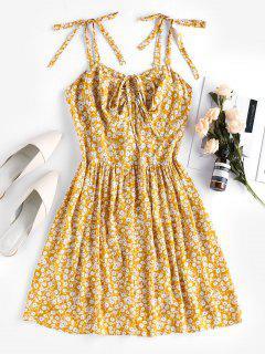 Vestido De Bata Con Estampado Floral Con Nudo En Espalda - Amarilla De Abeja  L