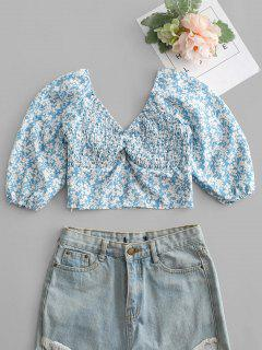 Tiny Floral Print Shirred Crop Top - Blue M