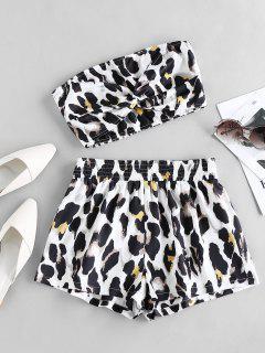 ZAFUL Leopard Smocked Twisted Shorts Set - White S
