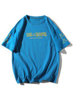 Cartoon Bear Drawing Letter Print Basic T-shirt - Blue 3xl
