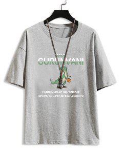Camiseta Básica Con Patrón De Letras De Dibujo Animado - Gris Claro L