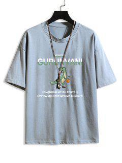 Cartoon Dinosaur Letter Pattern Basic T-shirt - Jeans Blue 2xl