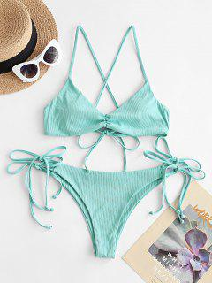 ZAFUL Tie Your Heart Ribbed Bikini Swimwear - Blue Hosta M