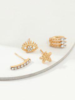4Pcs Floral Eye Earrings Set - Gold