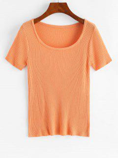 Ribbed Short Sleeve Slim Knit Tee - Tiger Orange