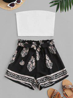 Leaf Print Bandeau Two Piece Set - White M