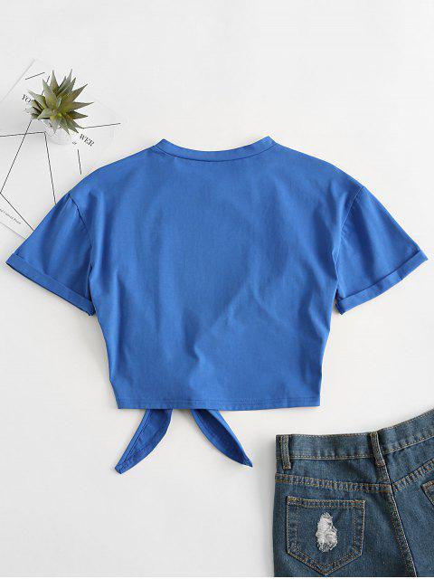 ZAFULタイ裾おかしいEARTH DAYグラフィックTシャツ - 青 M Mobile