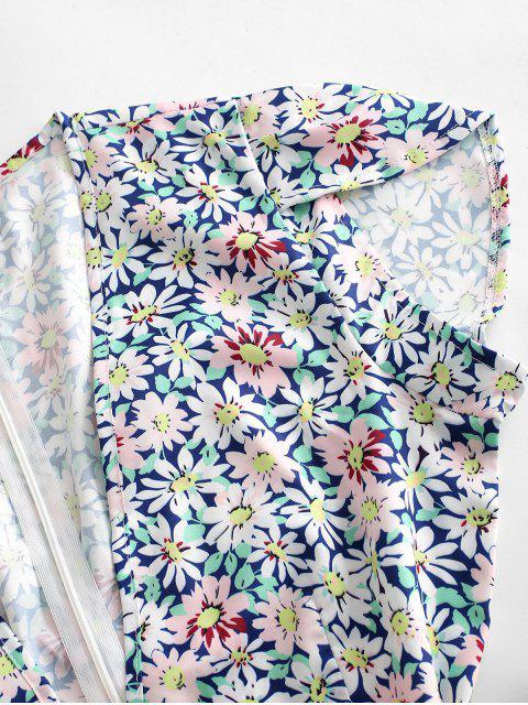Mono Femenino con Escote Pico con Cinturón con Estampado Floral - Multicolor-A XL Mobile