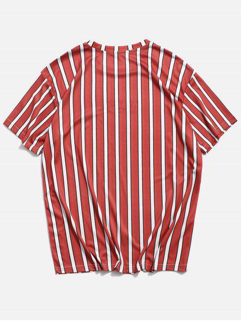 Gestreiftes T-Shirt mit Kurzen Ärmeln und Buchstaben - Bohne Rot M Mobile