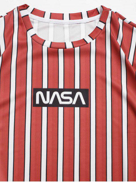 T-Shirt con Maniche Corte a Righe e Stampa a Lettera - Rosso del Fagiolo 3XL Mobile