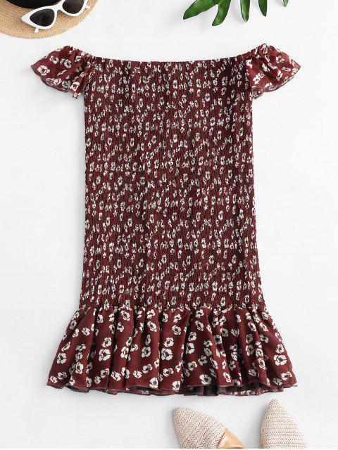 buy Floral Off Shoulder Smocked Flounce Dress - RED M Mobile