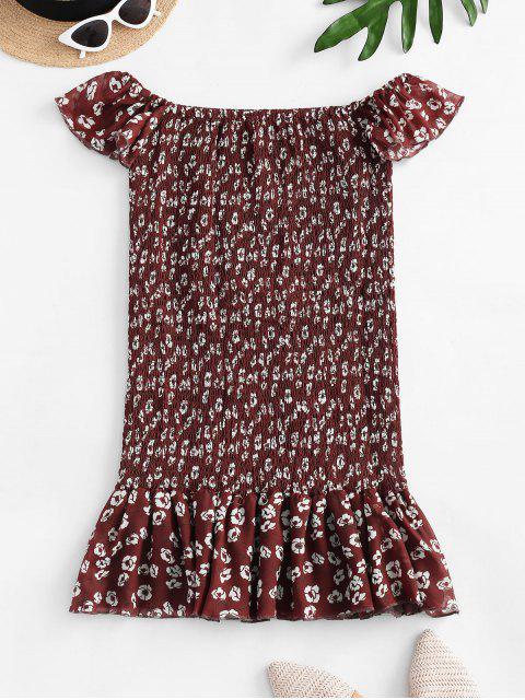 women's Floral Off Shoulder Smocked Flounce Dress - RED L Mobile