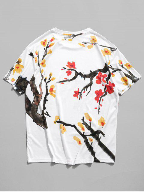 Floral Printing Short Sleeves Casual T-shirt - أبيض 3XL Mobile