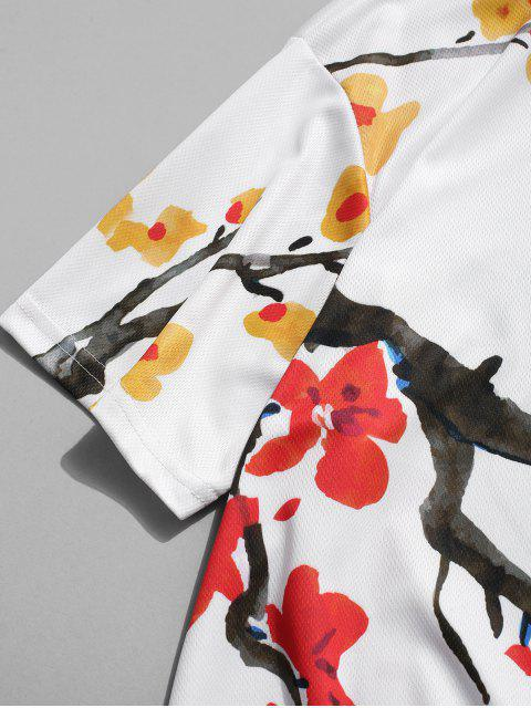 T-shirt de Impressão Floral de Mangas Curtas de Gola de V - Branco 3XL Mobile