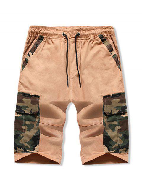 Camouflage Print Flap Pockets Drawstring Shorts - كاكي M Mobile