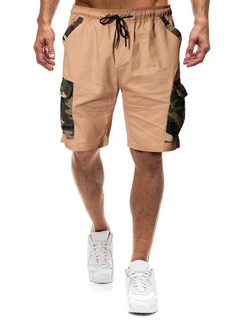 Camouflagedruck Klappe Taschen Tunnelzug Shorts - Khaki M Mobile