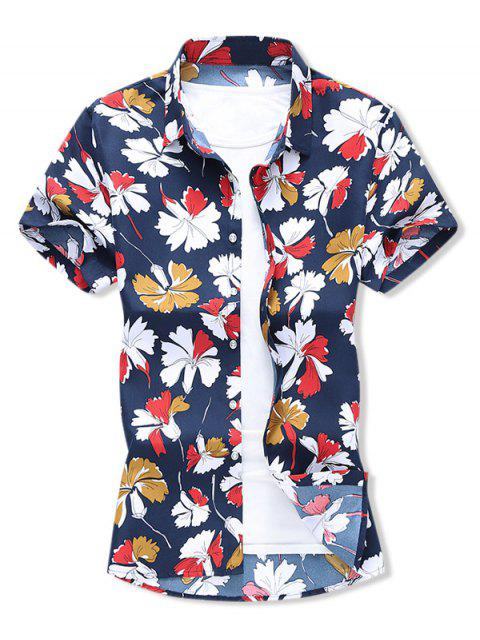affordable Leaf Allover Print Button Vacation Shirt - CADETBLUE XL Mobile