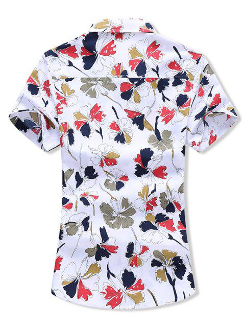 women Leaf Allover Print Button Vacation Shirt - WHITE M Mobile