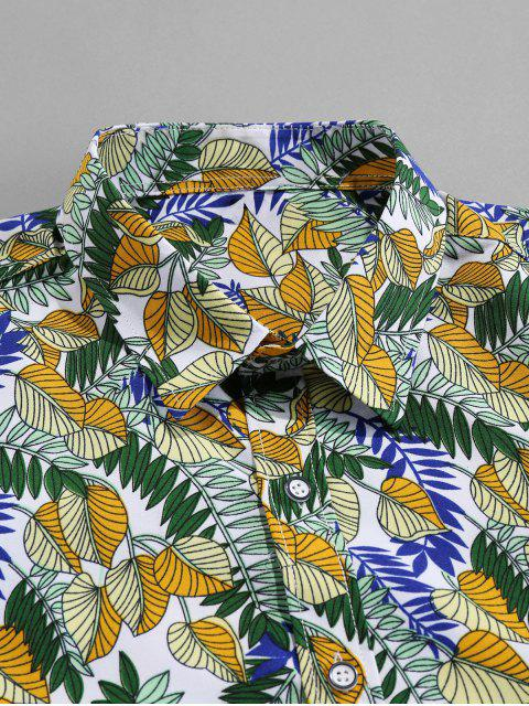 outfit Tropical Leaf Allover Print Vacation Shirt - MULTI 3XL Mobile