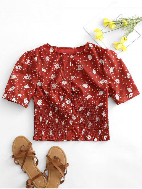 women's Tiny Floral Print Shirred Waist Crop Blouse - RED M Mobile