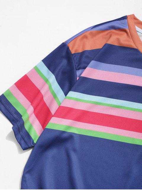 T-Shirt a Righe Colorate con Maniche Corte - Blu  Ardesia Scura 2XL Mobile