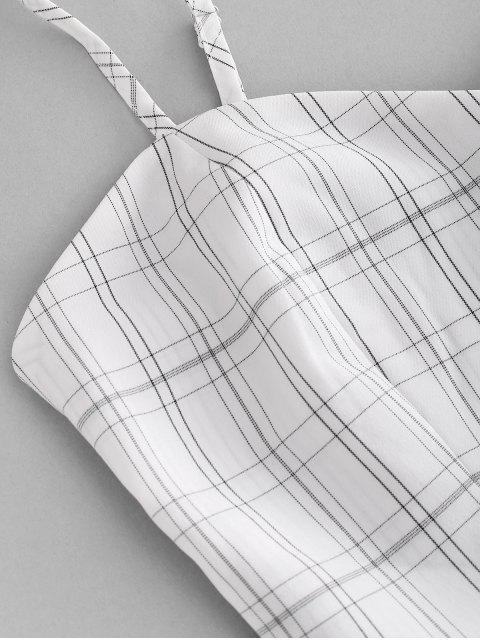 shops ZAFUL Plaid Belted Smocked Shorts Set - WHITE S Mobile