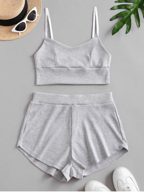 sale Two Piece Ribbed Bralette Top Set - GRAY CLOUD L Mobile