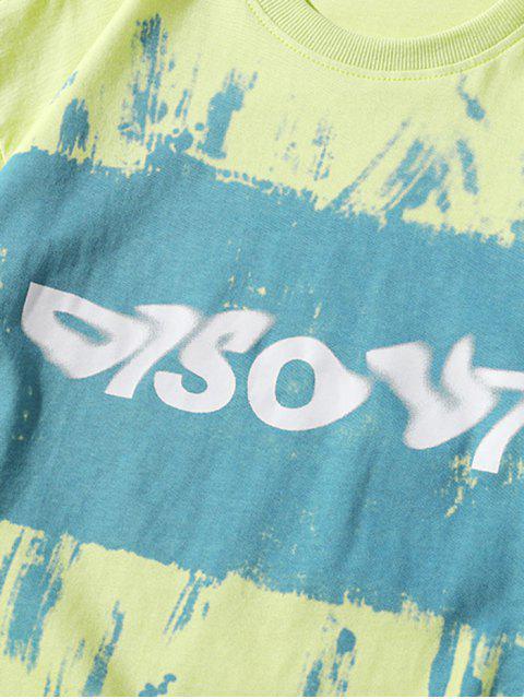 Malerei Buchstabedruck Basik T-Shirt - Gelb Grün 3XL Mobile