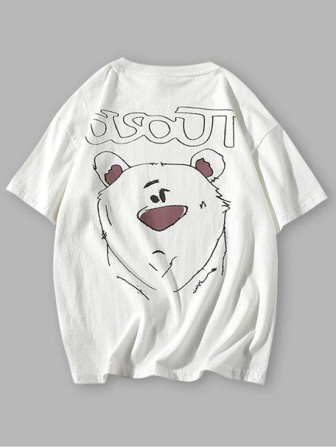 Cartoon Animal Drawing Letter Print Basic T-shirt - أبيض 3XL Mobile