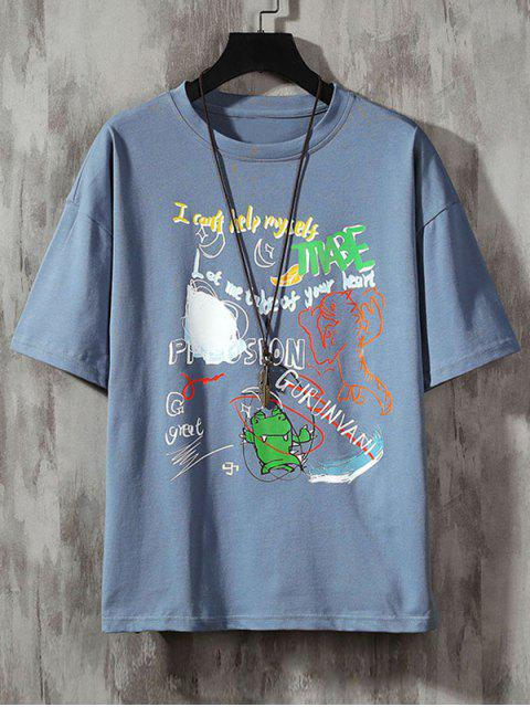 shops Cartoon Animal Letter Graphic Basic T-shirt - DENIM BLUE 3XL Mobile