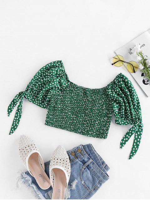 buy ZAFUL Ditsy Print Tie Cuffs Smocked Crop Bustier Blouse - GREEN M Mobile