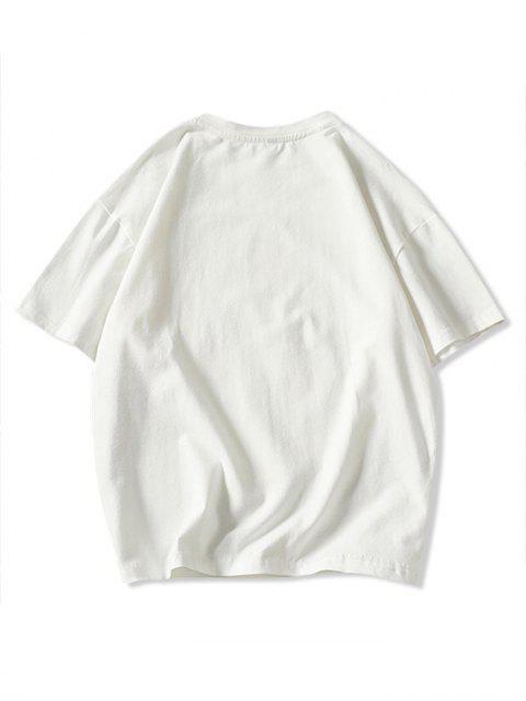 Camiseta Básica con Estampado de Dibujos Animados de Música - Blanco L Mobile