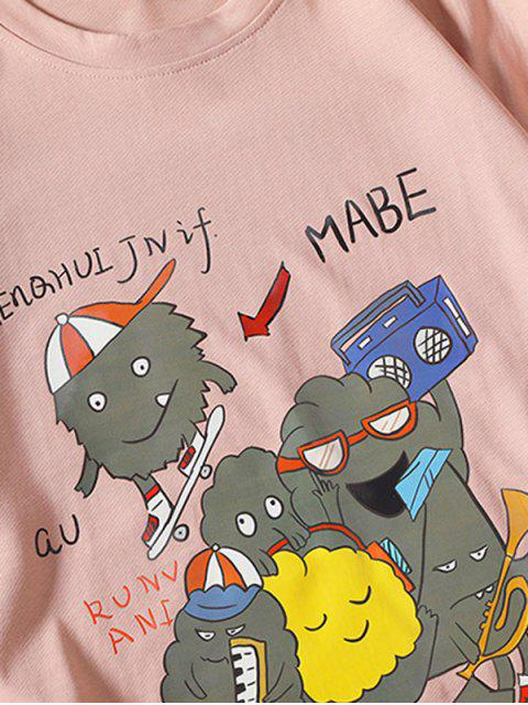 Camiseta Básica con Estampado de Dibujos Animados de Música - Rosado 2XL Mobile
