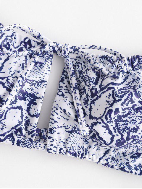 Bikini de Cadena con Estampado de Serpiente ZAFUL - Azul de Seda S Mobile