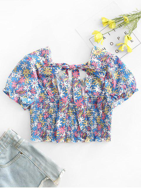 sale Floral Print Shirred Crop Top - BLUE S Mobile