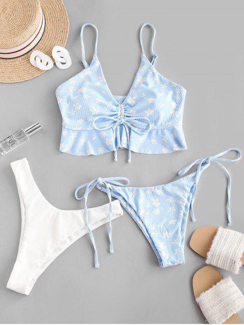 ZAFUL Enrugado Floral Três Peças de Biquíni - Azul claro S Mobile