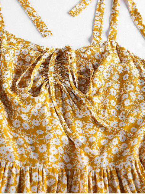 new Tie Strap Smocked Back Floral Print Cami Dress - BEE YELLOW XL Mobile