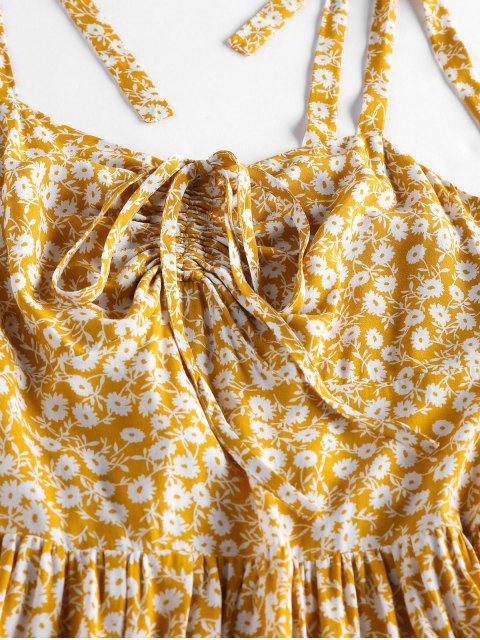 Krawatte Kittel Blumendruck Cami Kleid - Biene Gelb L Mobile